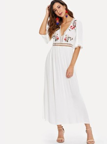Eyelet Lace Detail Floral Embroidered Applique Dress