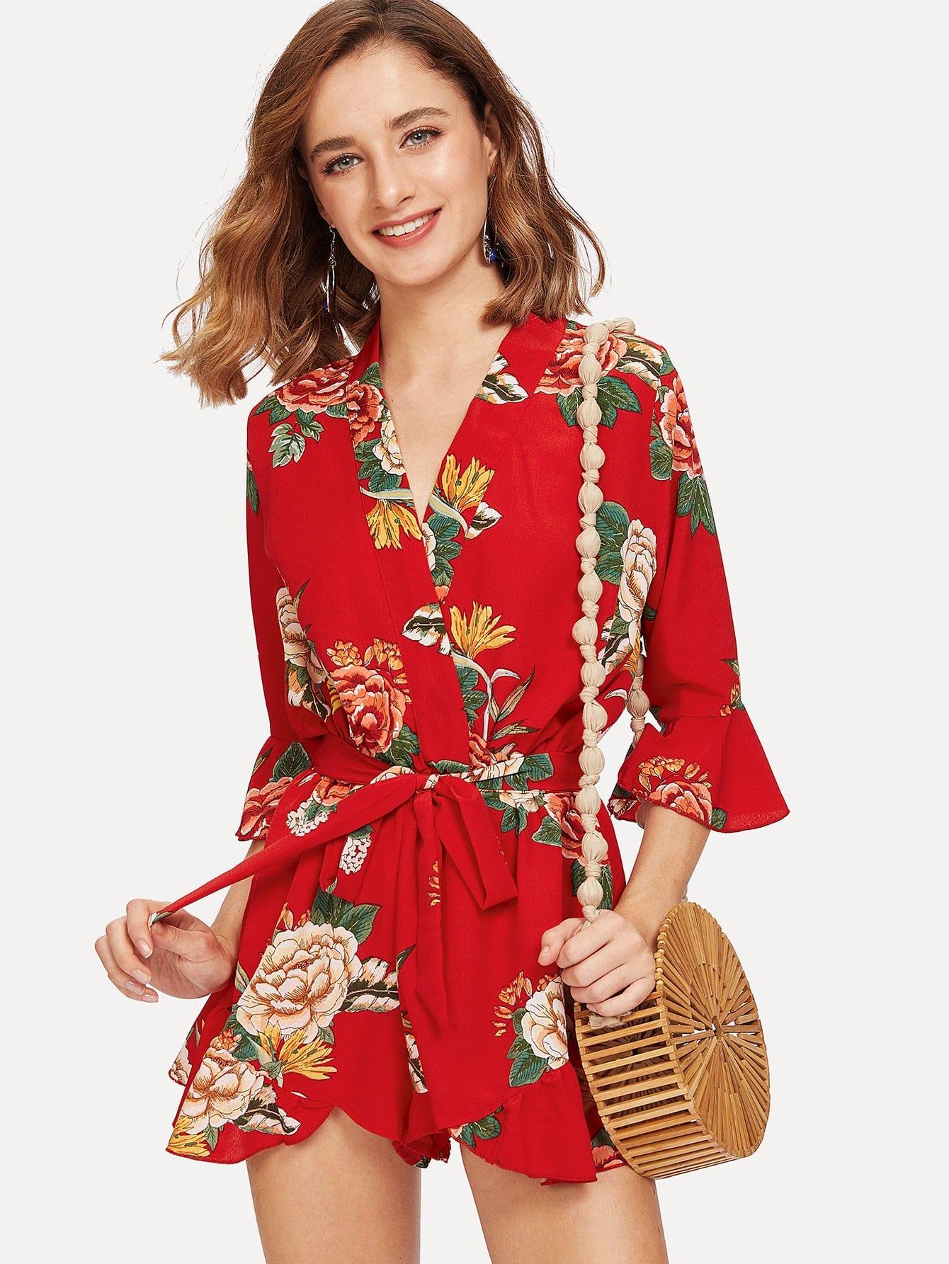 Bell Sleeve Ruffle Hem Floral Wrap Romper ruffle bell sleeve hanky hem wrap dress