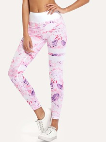 Contrast Waistband Leaf Print Leggings