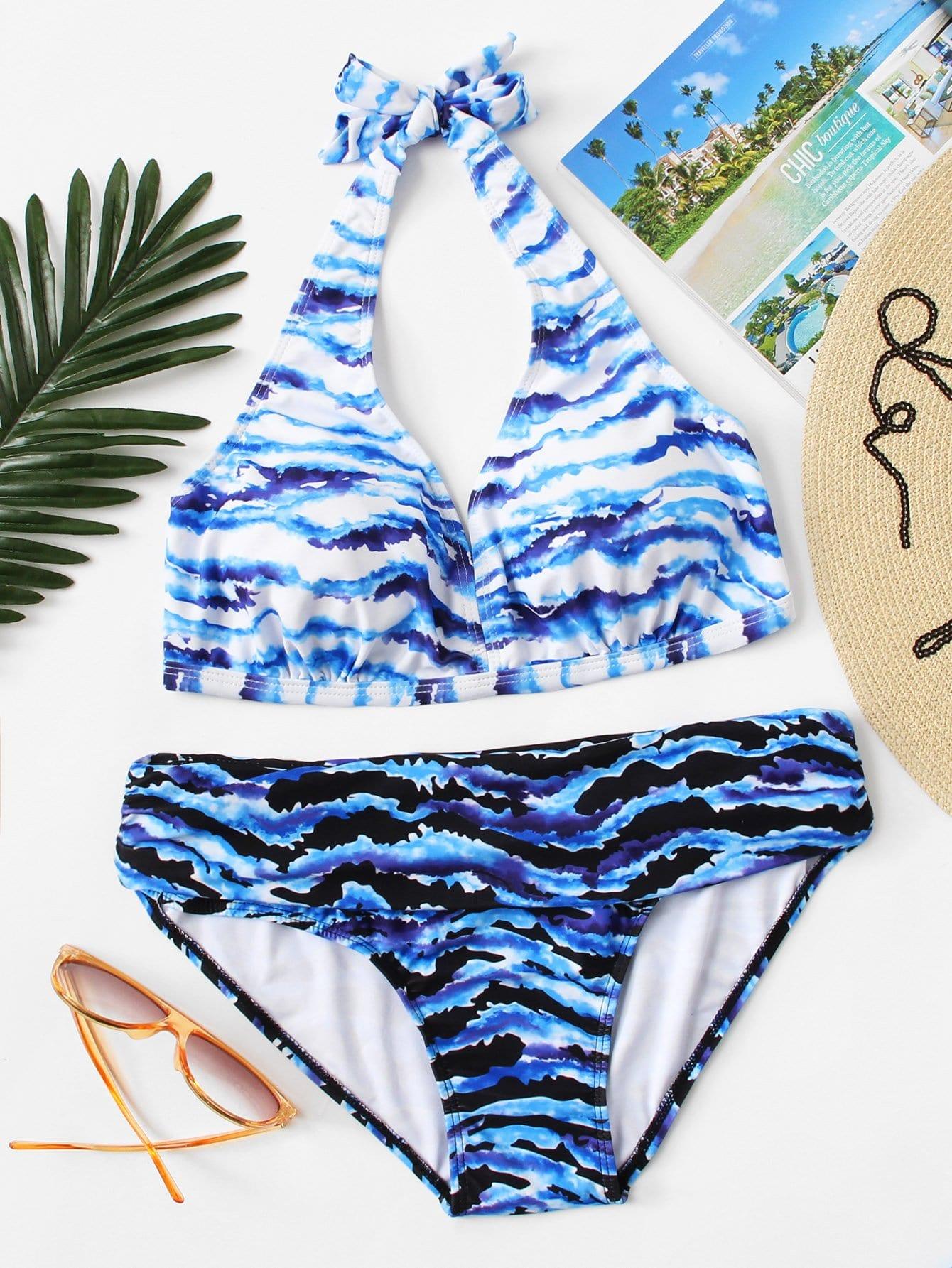 Plus Watercolor Halter Bikini Set watercolor strappy bikini set