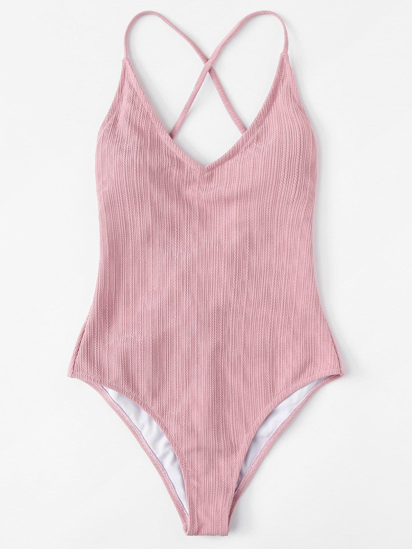 Solid Plunging Neck Swimsuit