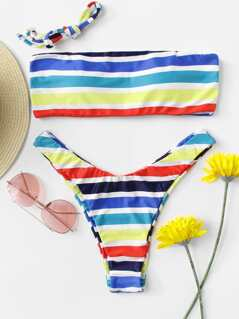Striped PrintBandeau Top With High Cut Bikini Set