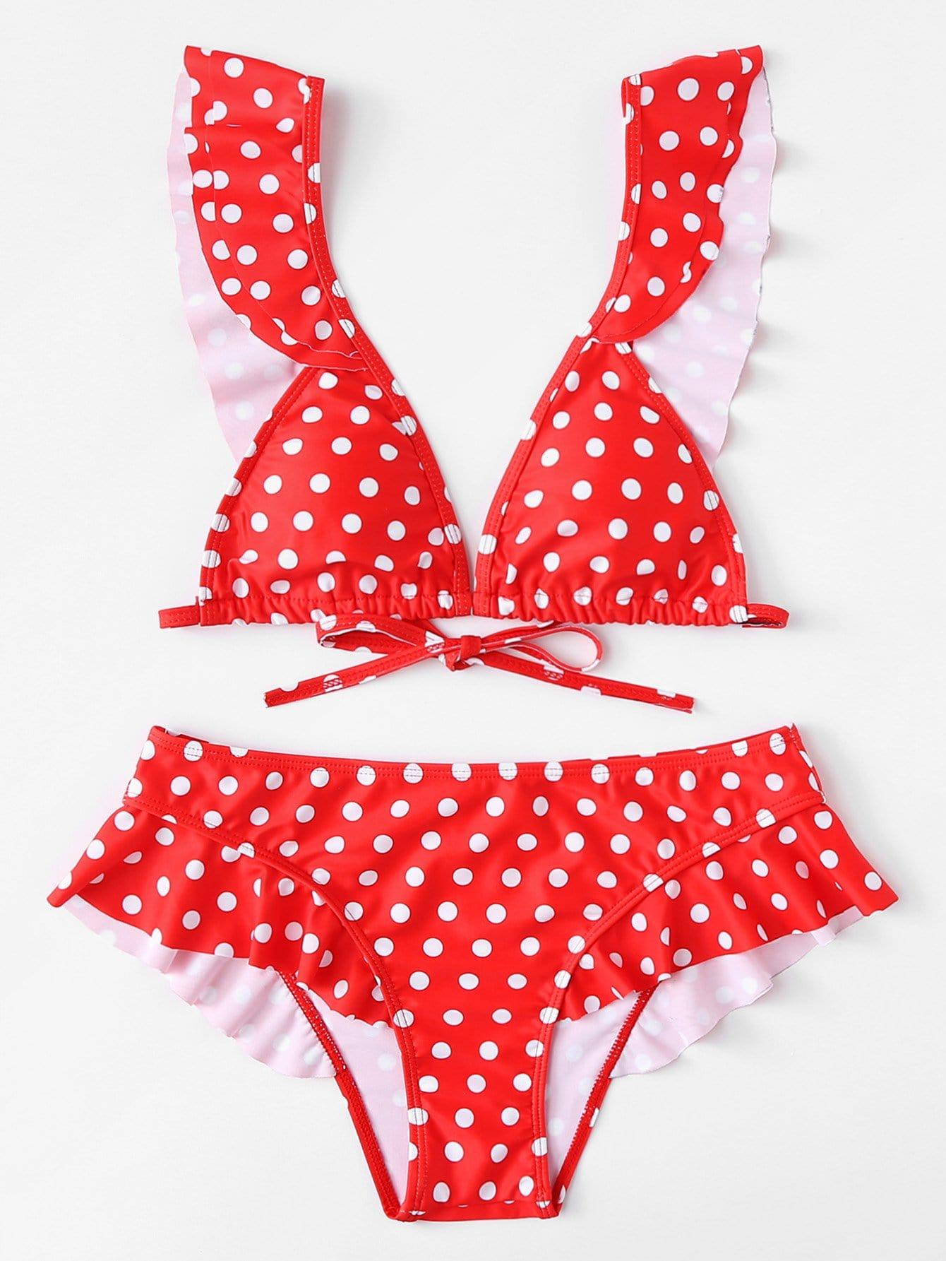 Polka Dot Ruffle Trim Bikini Set crochet ruffle trim halter bikini set