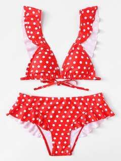 Polka Dot Ruffle Trim Bikini Set