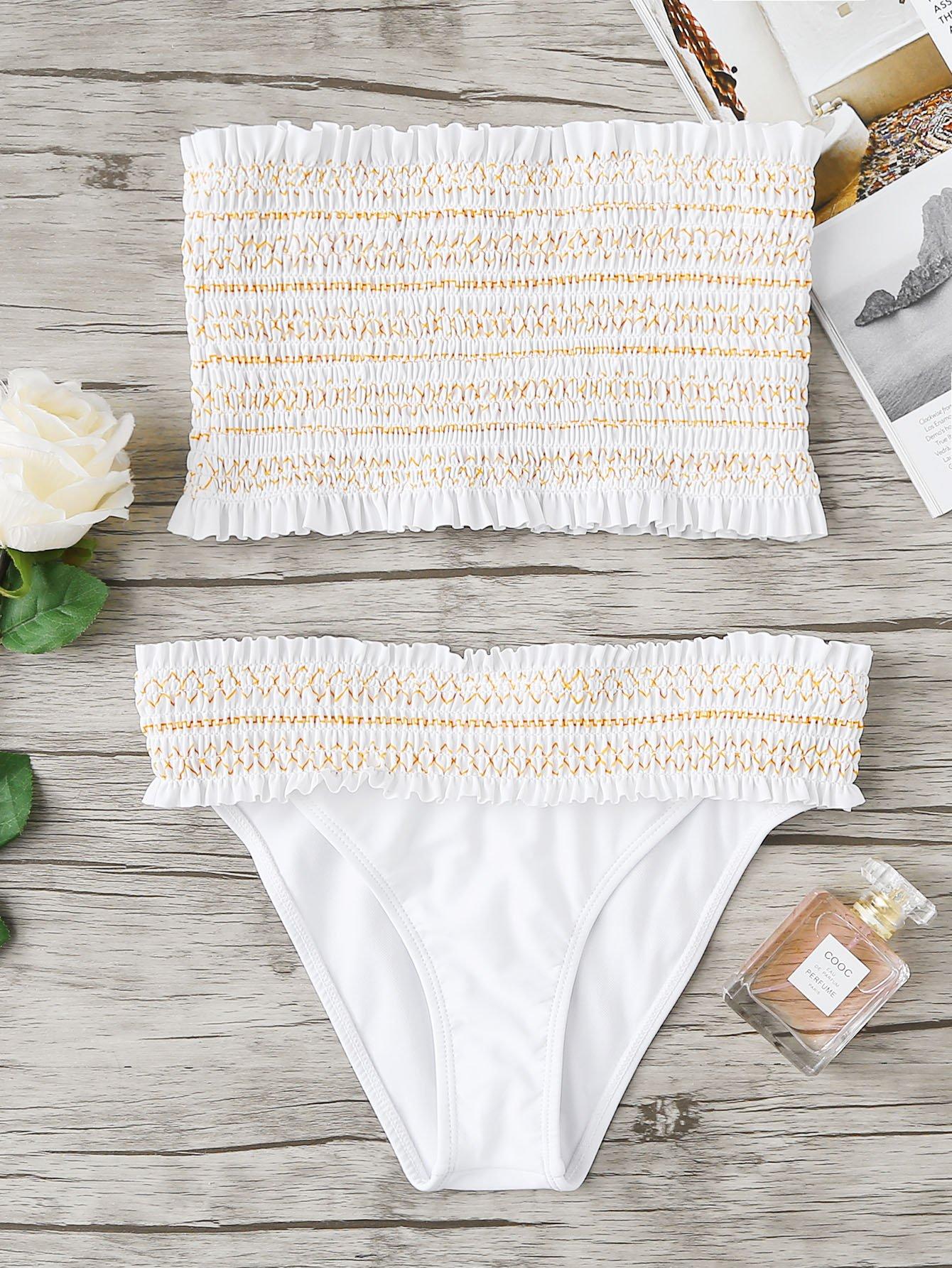 Фото Geo Stitch Shirred Bandeau Bikini Set checker knot bikini set