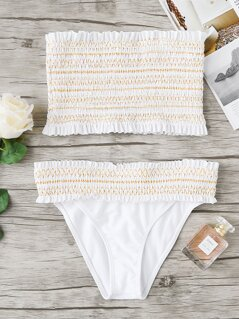 Geo Stitch Shirred Bandeau Top With Bikini Set