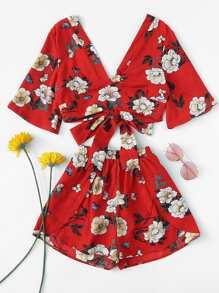 Flower Print Crop Top & Shorts Set