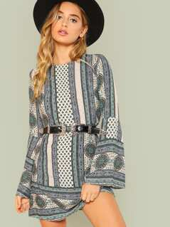 Bell Sleeve Split Back Geometric Dress
