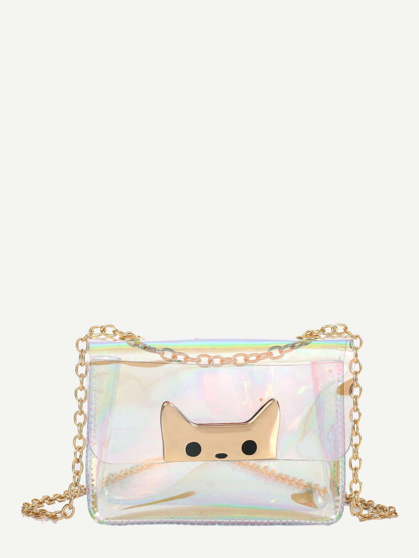 Clear Iridescent Crossbody Chain Bag iridescent tote bag