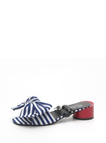 Striped Bow Chunky Heeled Sandals
