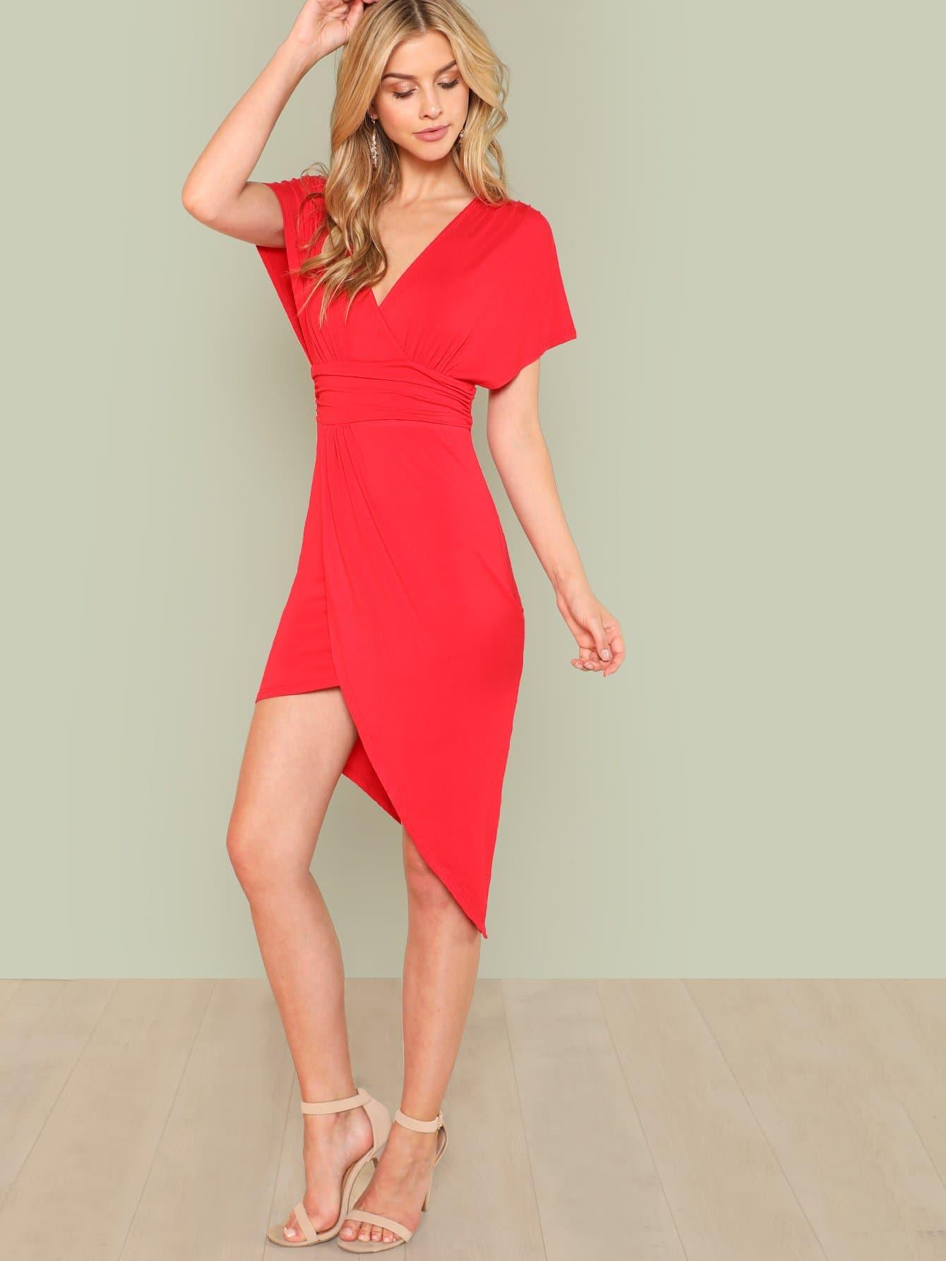 Surplice Neck Asymmetrical Hem Dress ruched v neck surplice dress