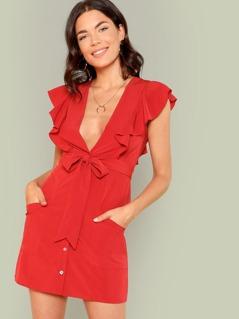 Surplice Neck Ruffle Embellished Button Up Dress