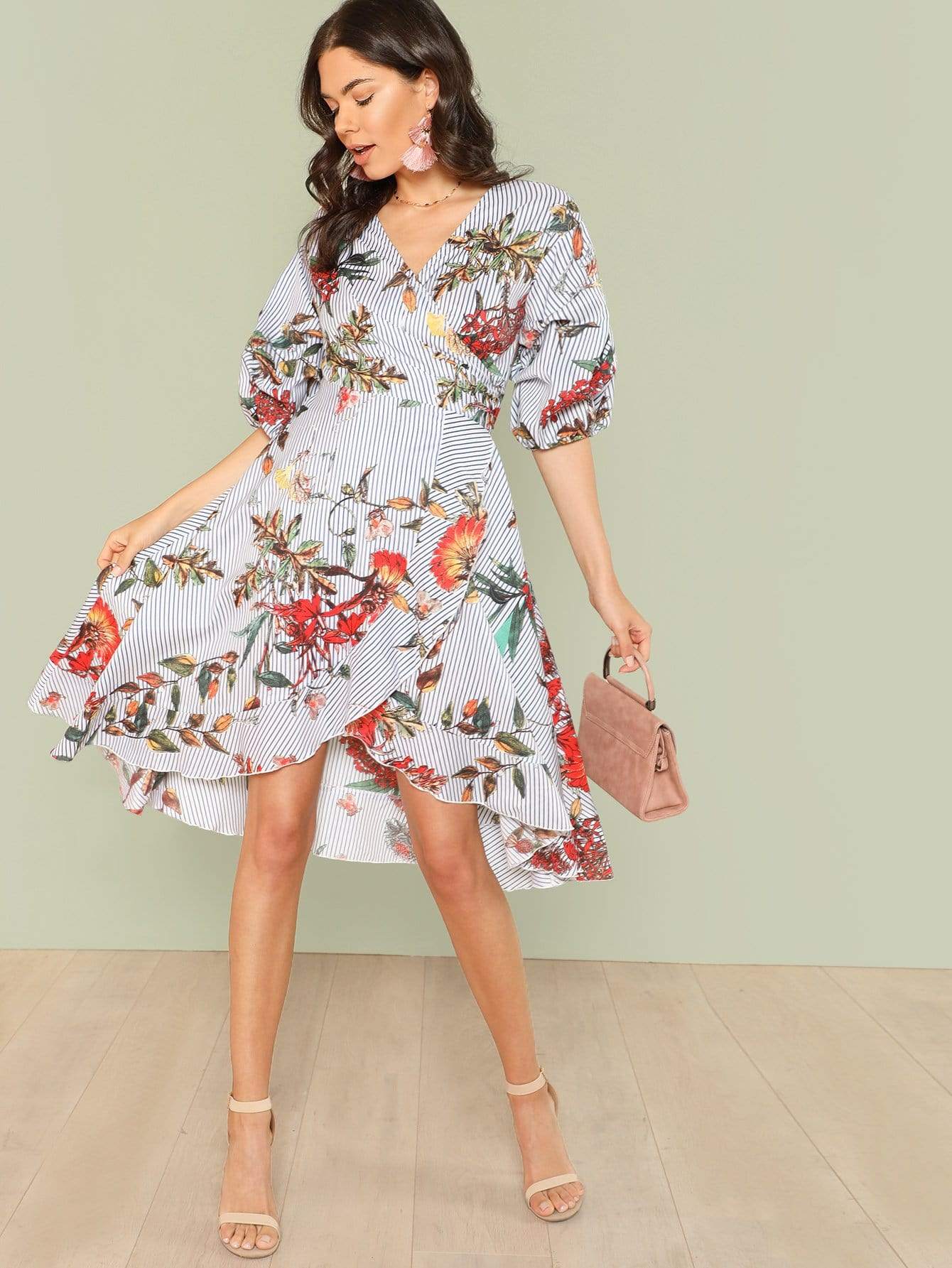Mixed Print Asymmetrical Ruffle Hem Surplice Wrap Dress mixed print surplice wrap jumpsuit