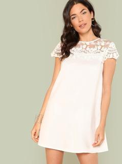 Lace Yoke Solid Dress