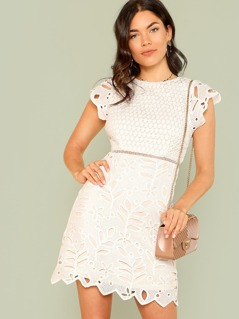 Zip Back Crochet Lace Dress