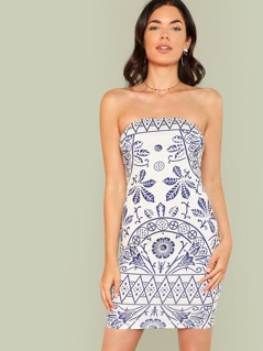 Tribal Print Bardot Dress