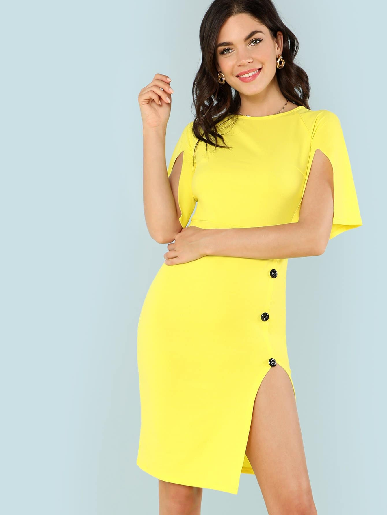 Raglan Sleeve Button Detail Slit Hem Dress fold over button front slit hem strap dress