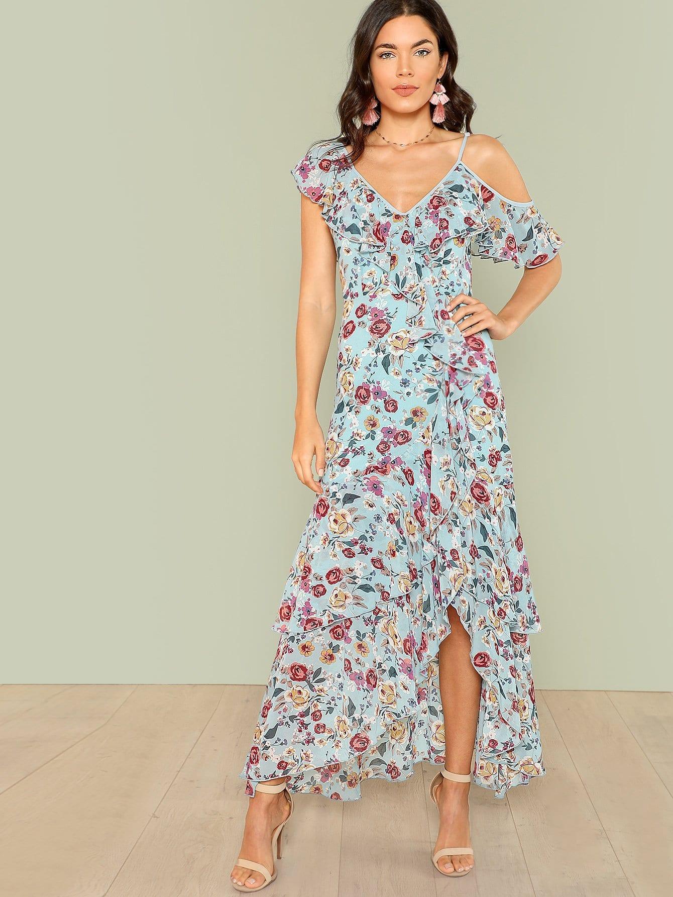 Flower Print Ruffle Hem Dress flower print ruffle hem top