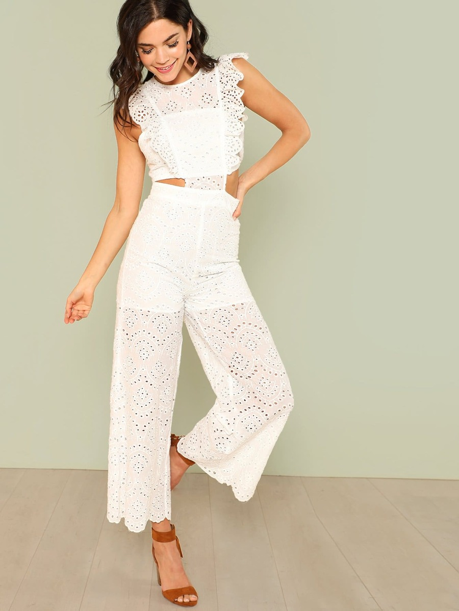 Eyelet Embroidery Wide Leg Ruffle Jumpsuit by Shein
