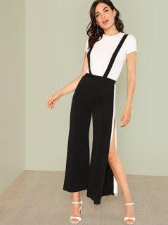 Contrast Tape High Slit Side Pant With Strap