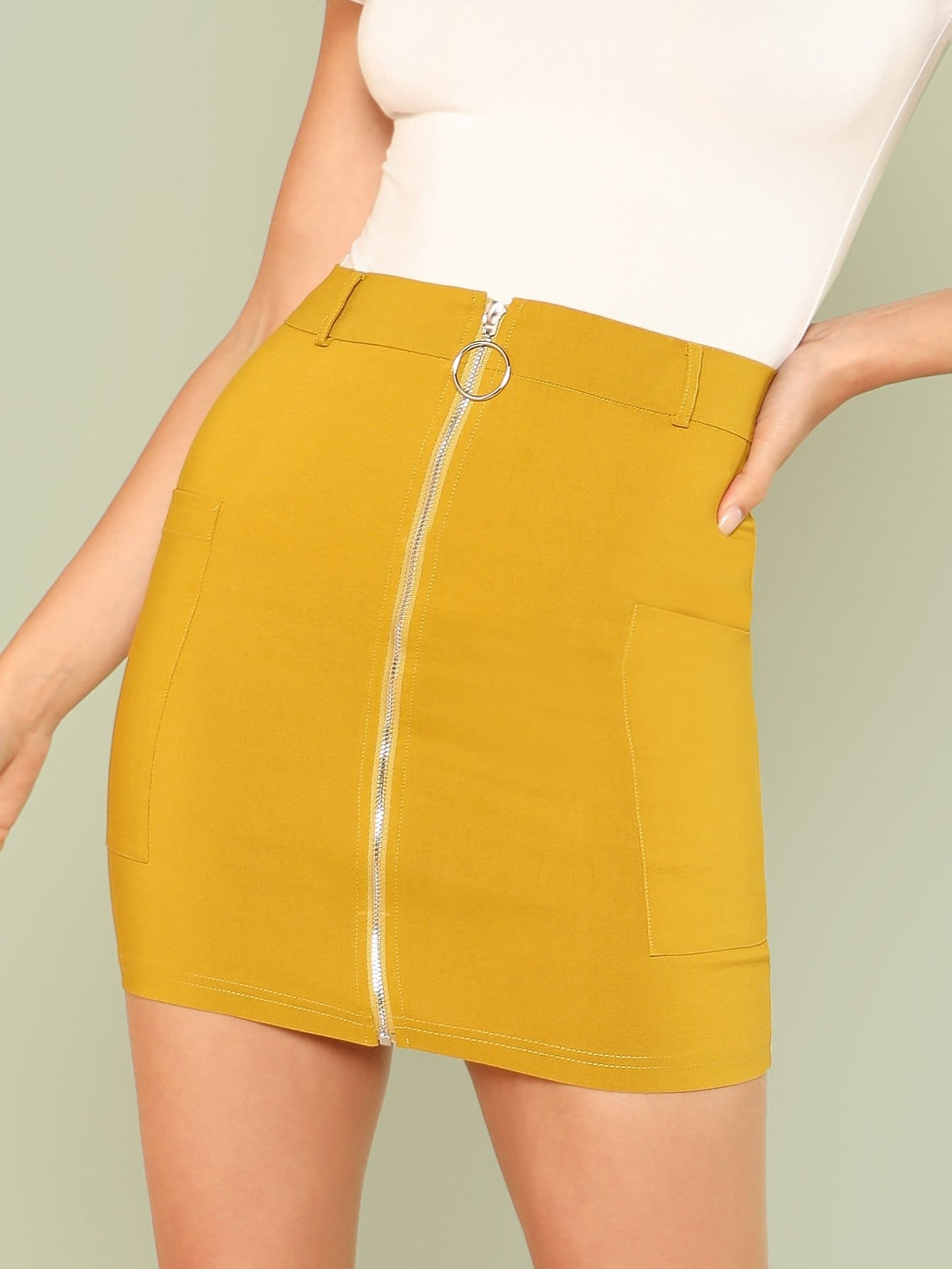 Pocket Patched O-Ring Zip Up Skirt high waist pocket patched dot skirt