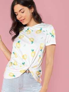Lemon Print Twist Hem T-shirt