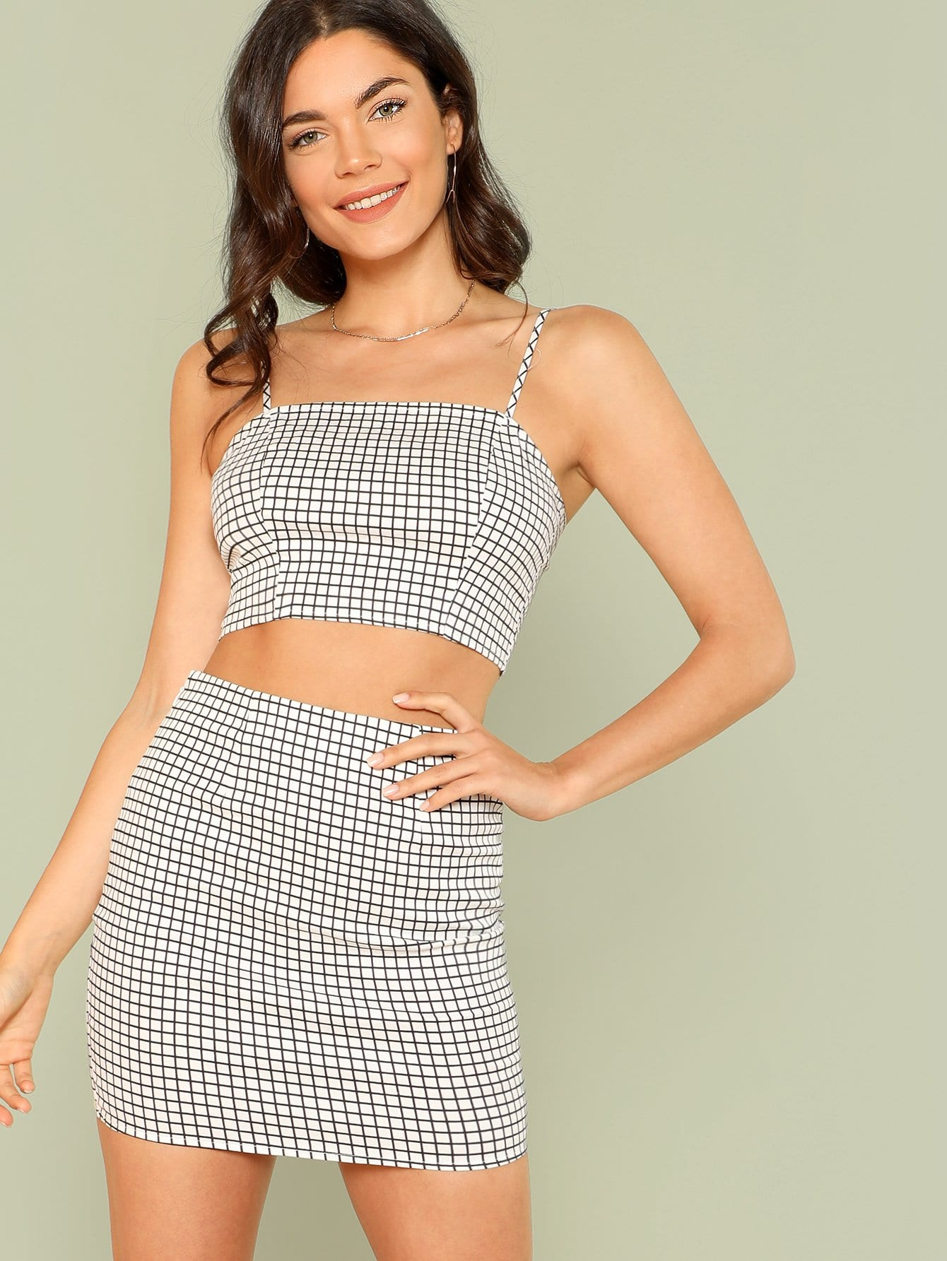 Grid Print Zip Back Cami Top And Skirt Co-Ord zip back plaid crop top and skirt set