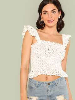 Ruffle Strap Eyelet Embroidered Smocked Top