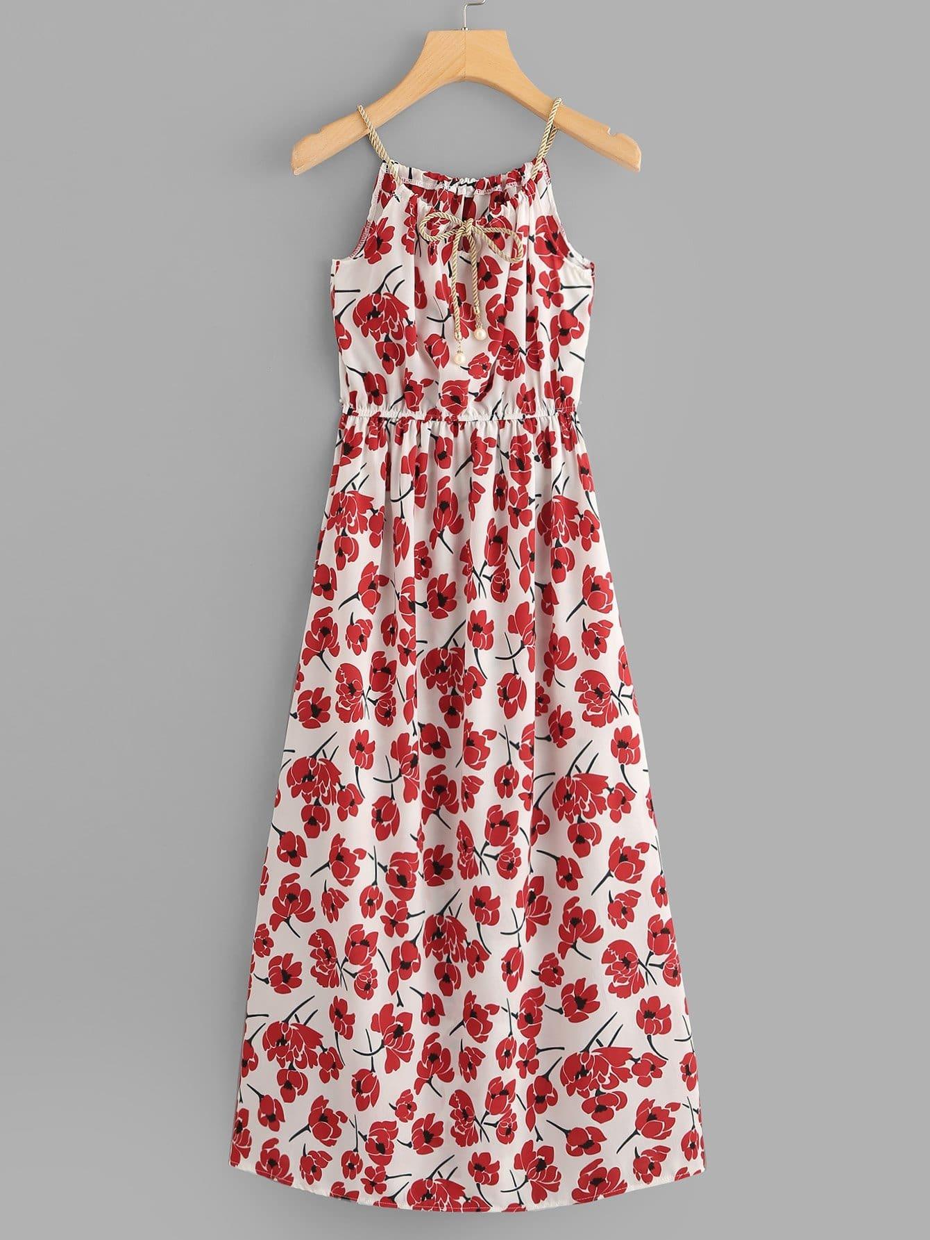 Flowers Print Tie Neck Dress