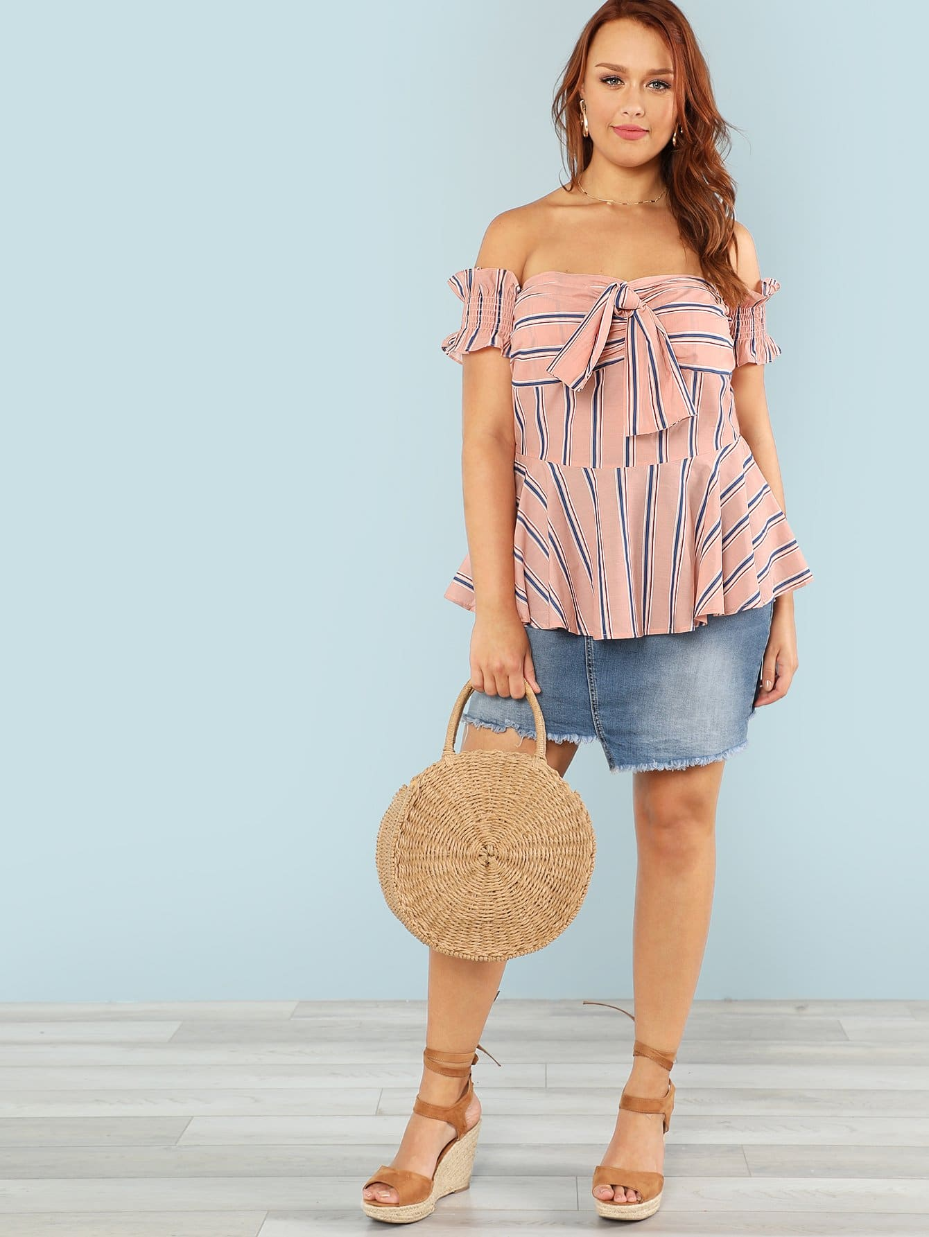 Knot Front Bardot Striped Top knot front shirred ruffle sleeve bardot top