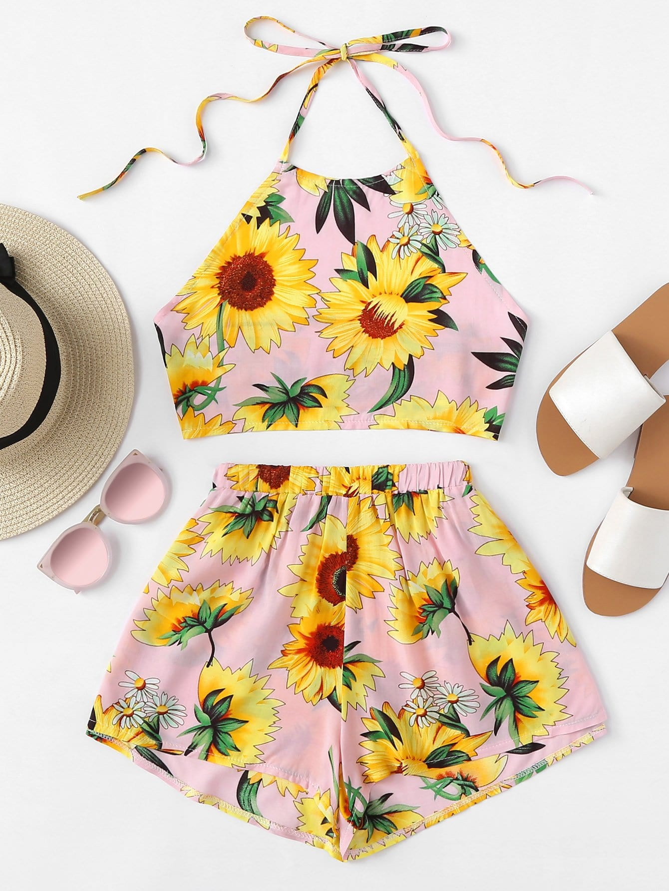 Sunflower Print Crop Halter Top With Shorts Set
