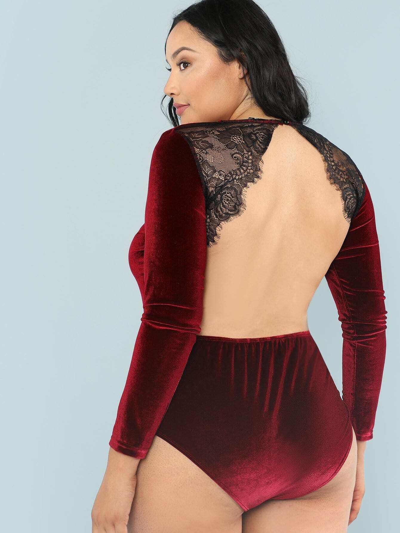 Open Back Lace Insert Velvet Bodysuit open back lace insert night dress