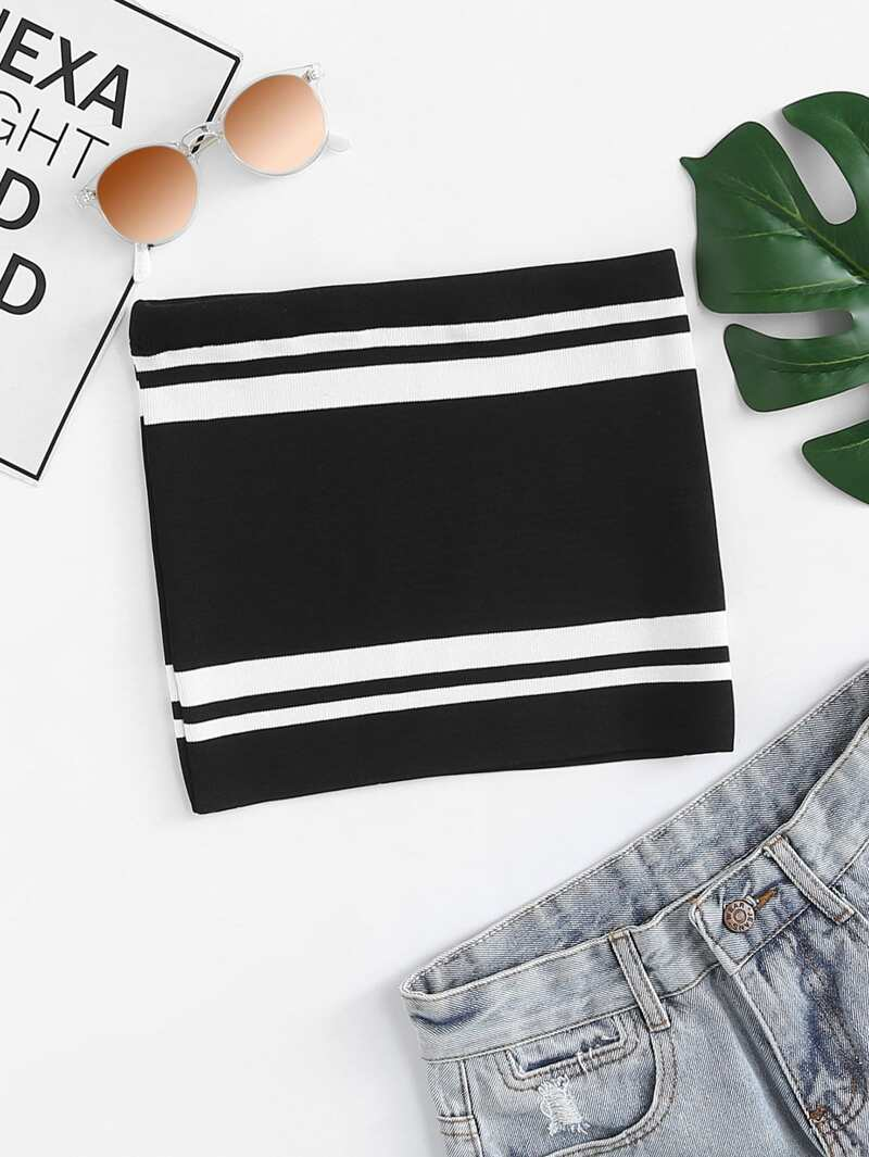 Contrast Tube Top, Black and white