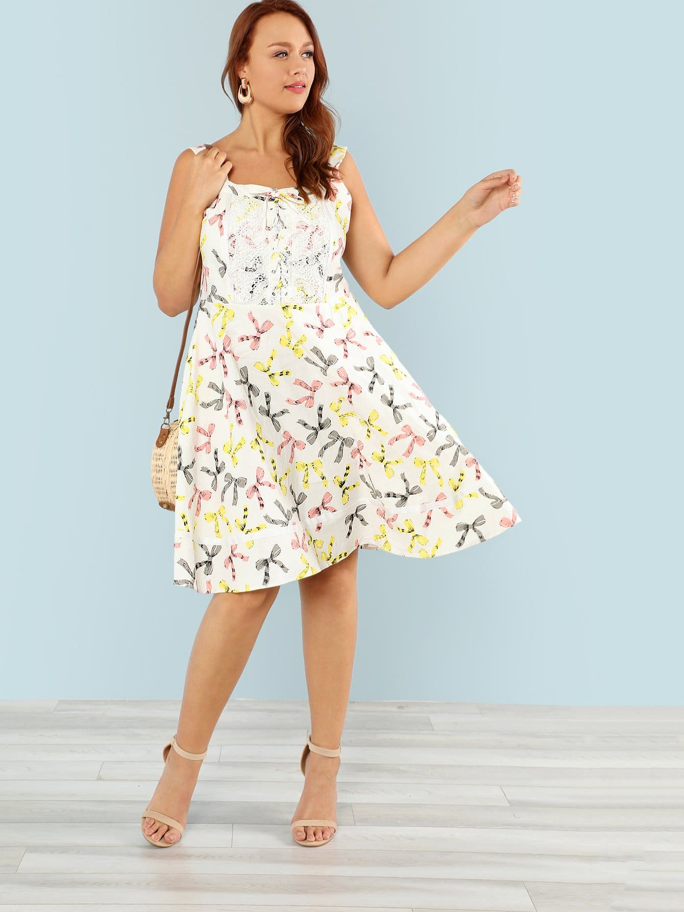 Lace Up Front Fit & Flared Dress lace up front fit