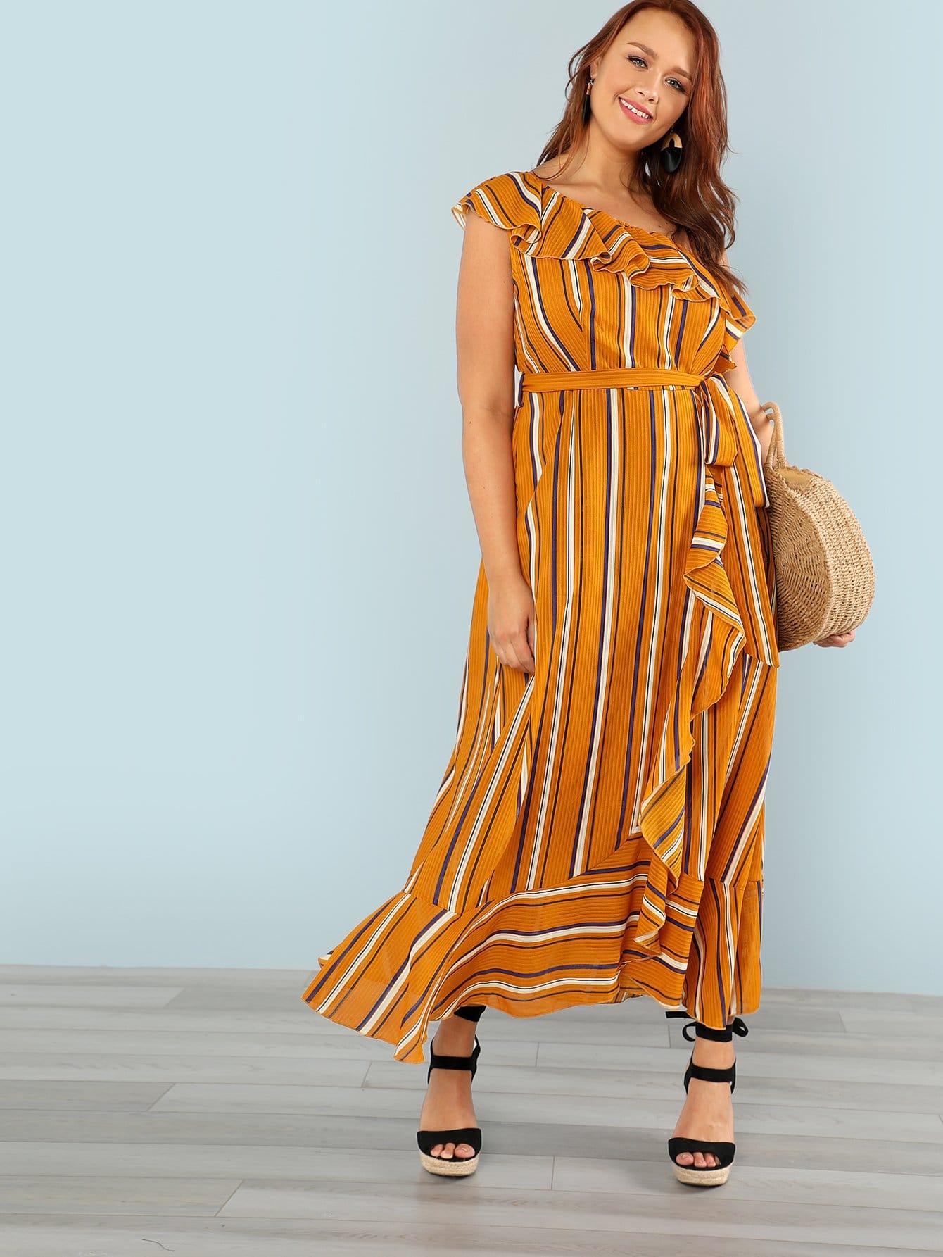 One Shoulder Striped Ruffle Dress one shoulder ruffle embellished dress