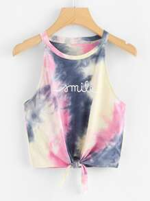 Tie Dye Letters Print Knotted Top ROMWE