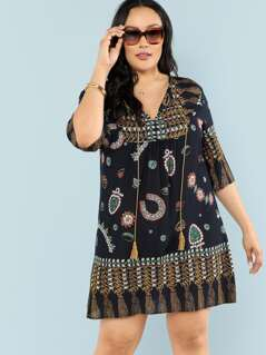 Plus Tribal Print Tassel Tied Tunic Dress