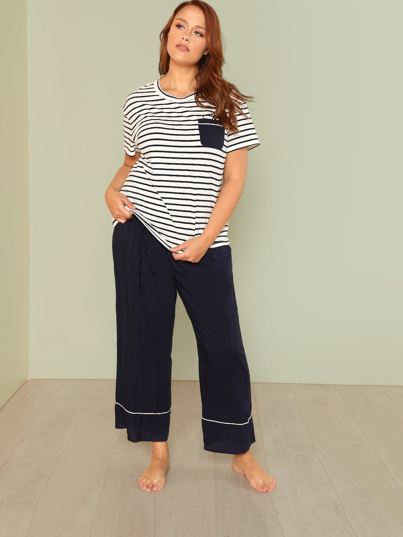 Contrast Tipping Striped Top And Pants PJ Set contrast tipping slit hem sweatpants