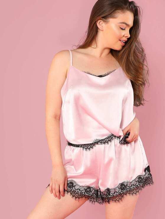 d474524f85 Plus Contrast Eyelash Lace Cami Top   Shorts PJ Set