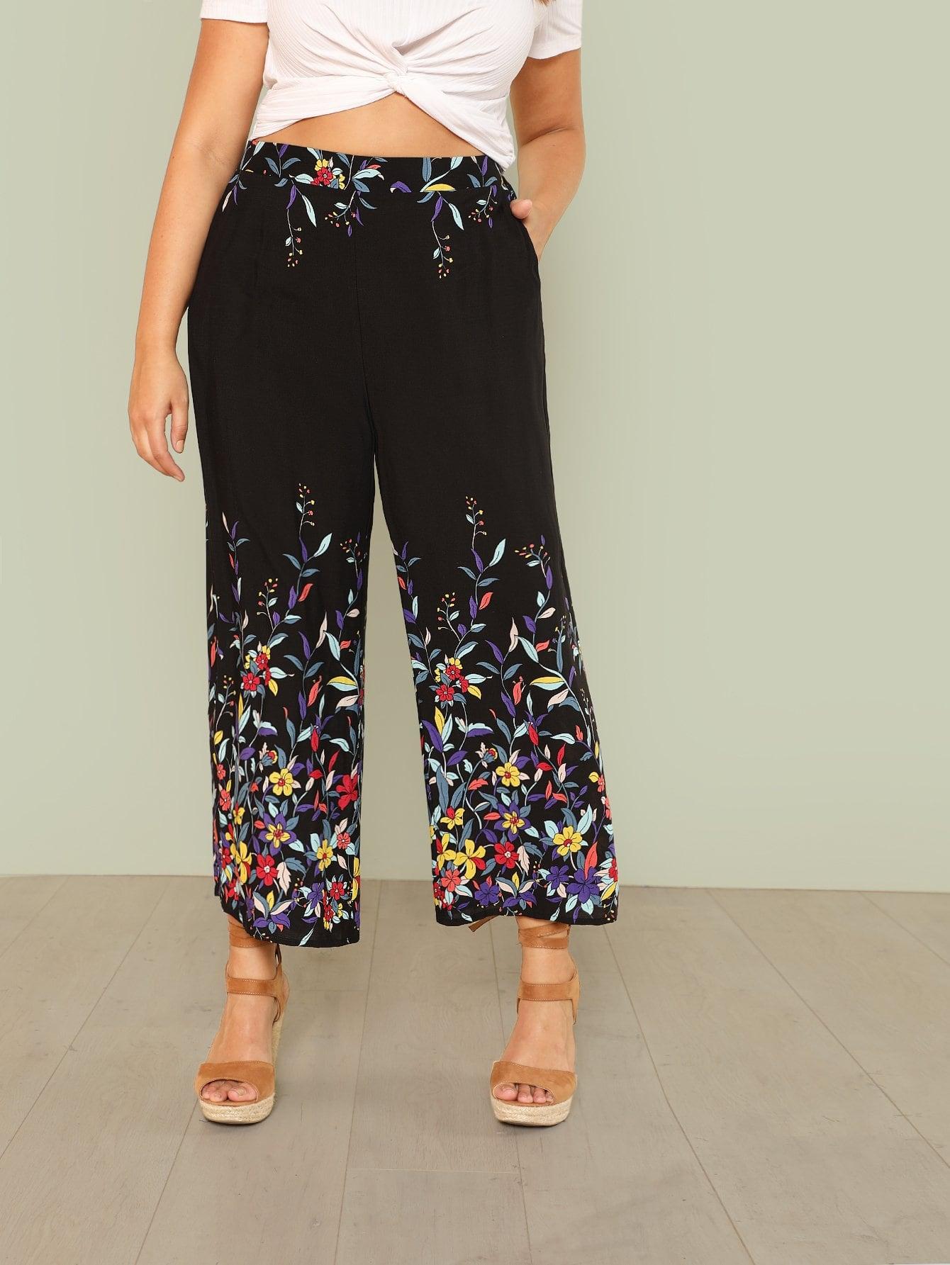Купить Широкие брюки в цветочек, Hannah Mavestrand, SheIn