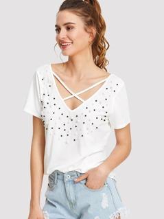 Pearl Beading Crisscross V Neck T-shirt