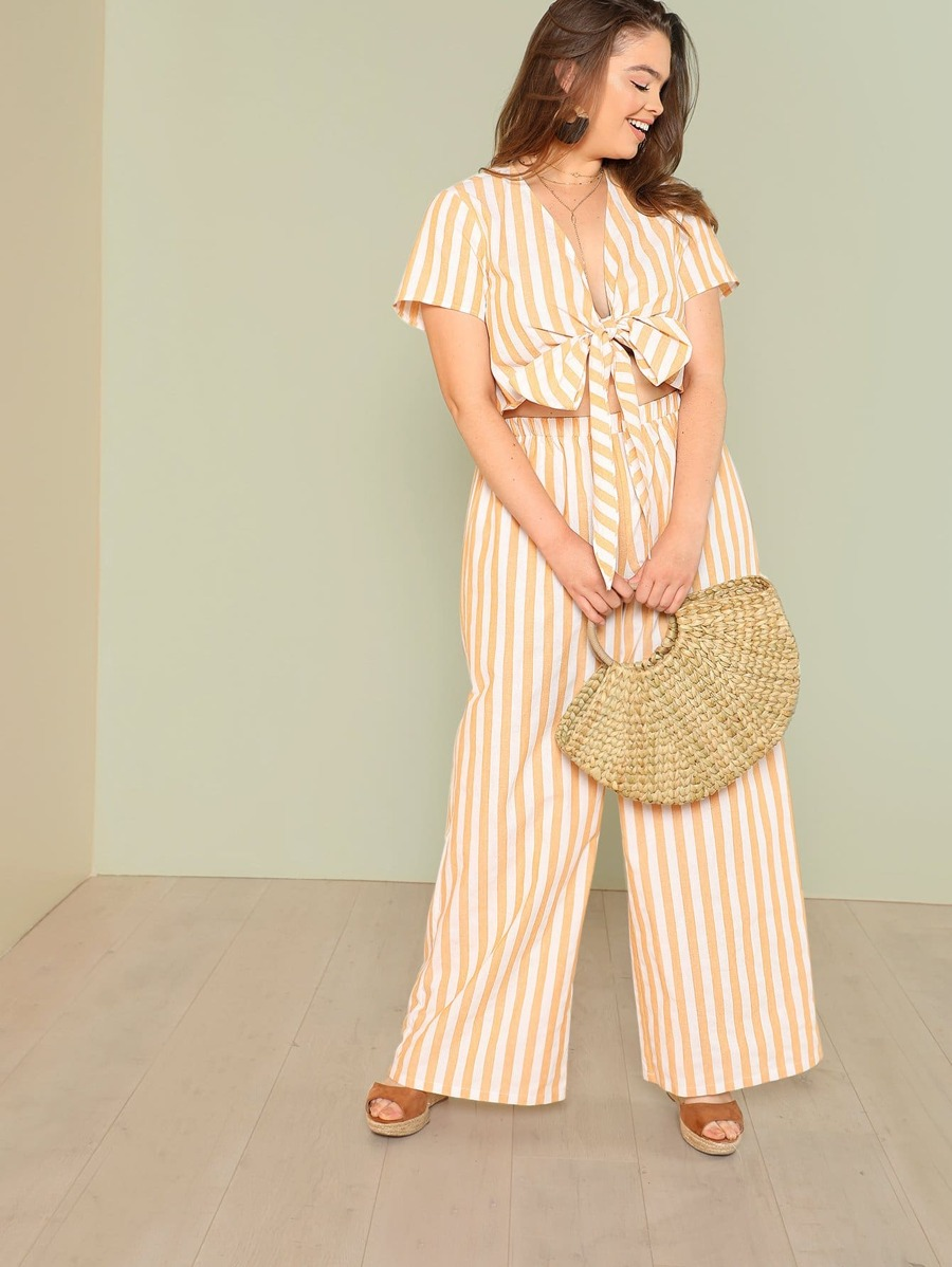 Striped Knot Front Crop Top & Wide Leg Pants Set by Shein