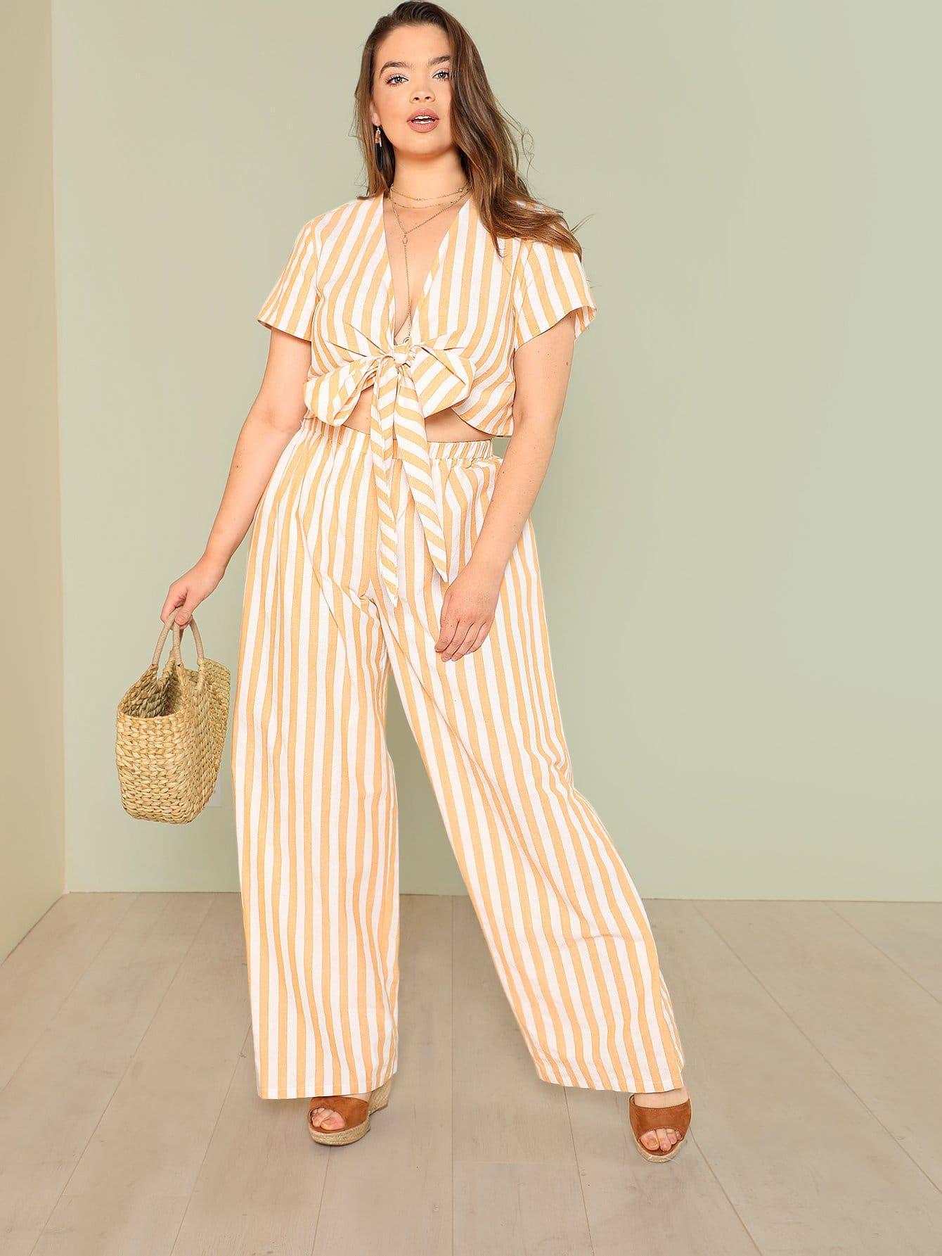 Фото Striped Knot Front Crop Top & Wide Leg Pants Set checker knot bikini set