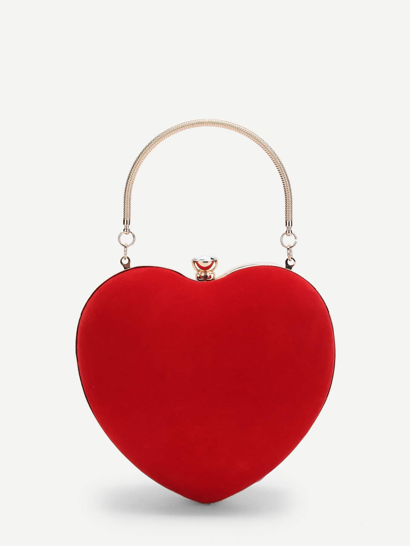 Heart Shaped Clutch Bag With Chain heart shaped decor star chain bag