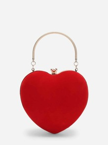 Heart Shaped Clutch Bag With Chain
