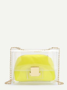 Clear Design Chain Bag With Inner Pouch