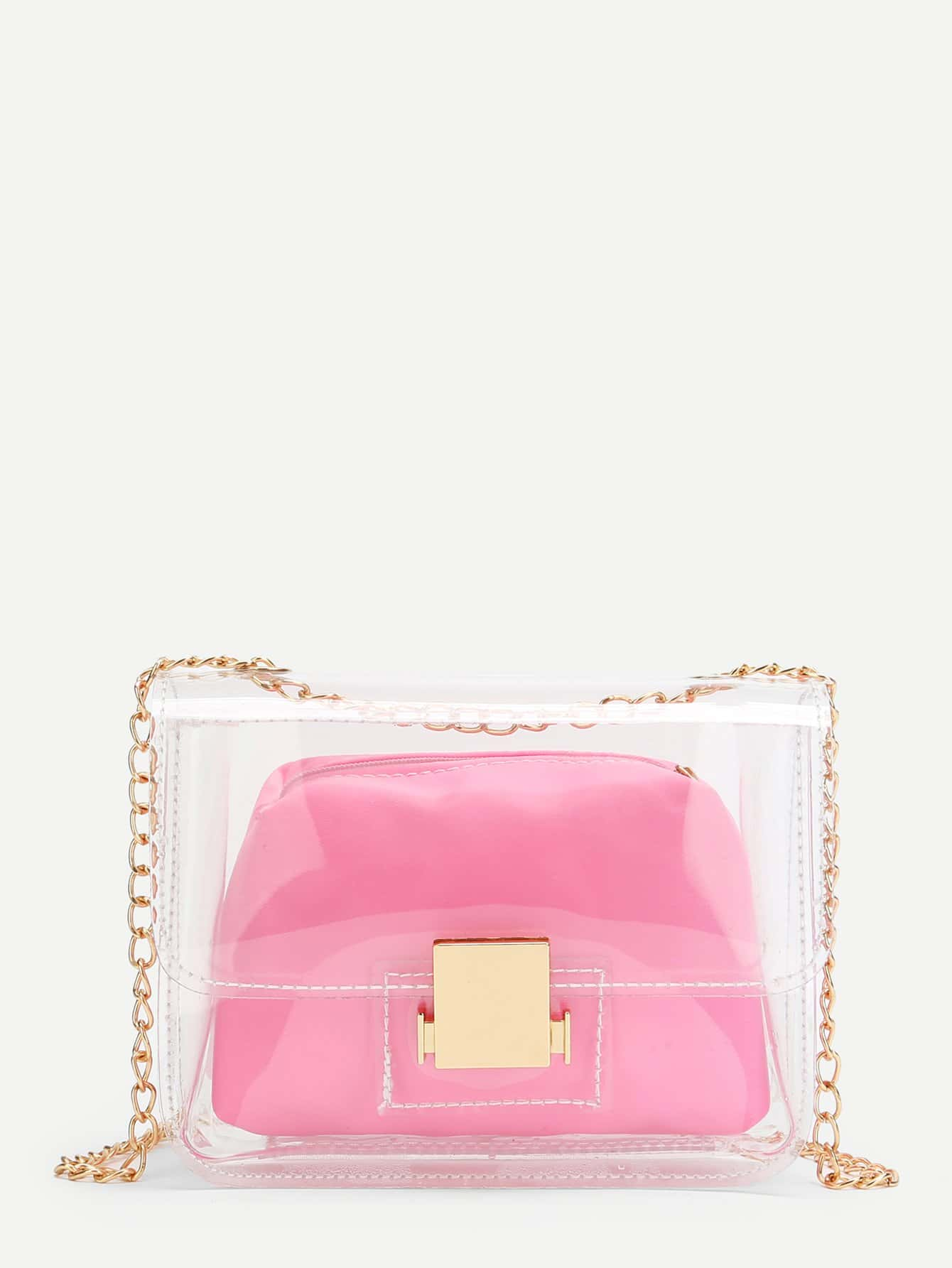 Clear Design Chain Bag With Inner Pouch clear design chain bag with inner pouch