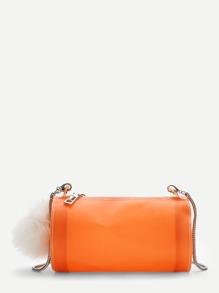 Chain Crossbody Bag With Pom Pom