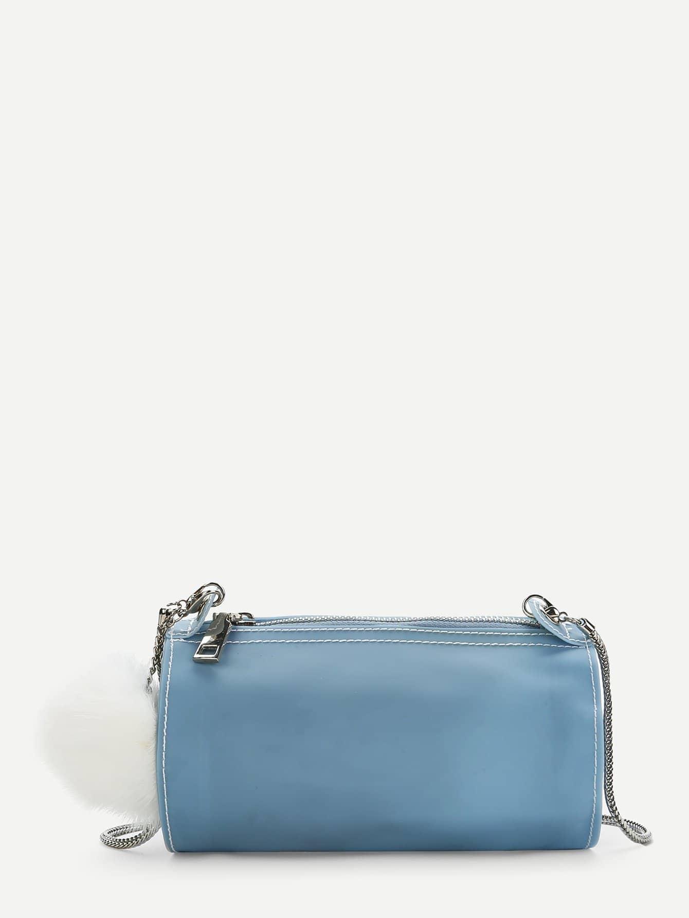 Chain Crossbody Bag With Pom Pom cameo brown pu pom pom trim convertible handbag with chain bag