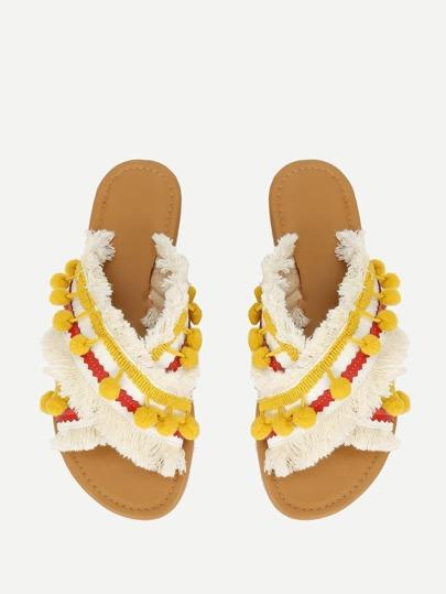 SheIn / Criss Cross Flat Sandals With Pom Pom